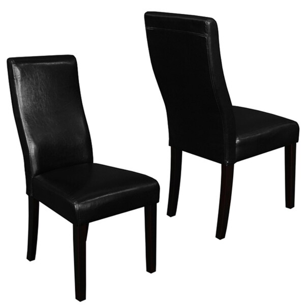 Livorna Faux Leather Black Curved-back Dining Chairs (Set