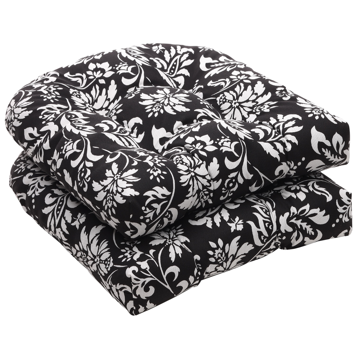 Pillow Perfect Outdoor Black White Floral Wicker Seat