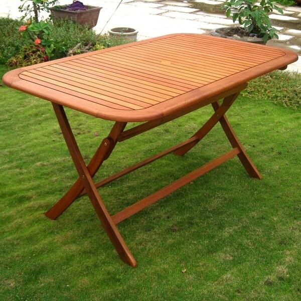 Outdoor Dining Bench: Yellow Balau Rectangular Outdoor Folding Dining Patio