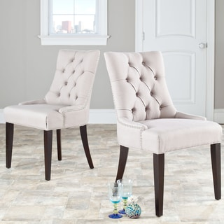 Brilliant Where To Buy Safavieh Abby Beige Linen Nailhead Side Chairs Bralicious Painted Fabric Chair Ideas Braliciousco