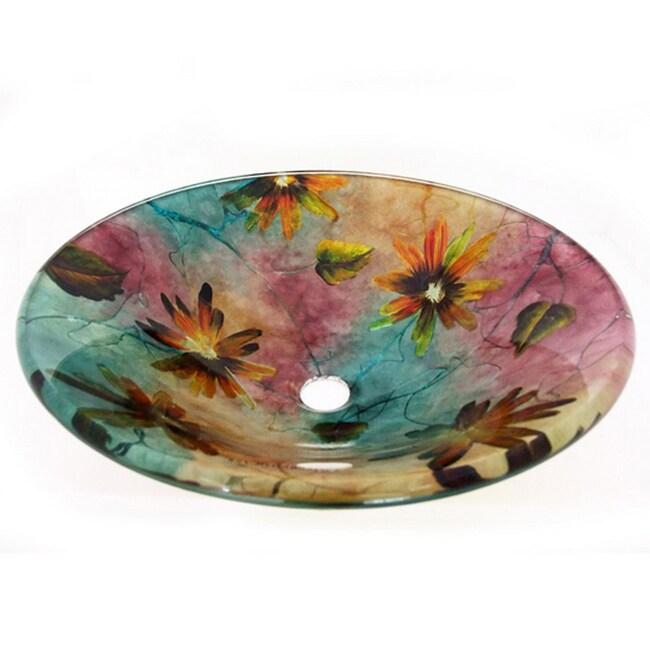 Floral Summer Glass Vessel Sink 14150582 Overstock Com Shopping Great Deals On Legion