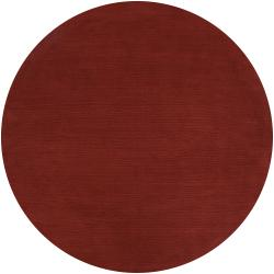 Hand Crafted Rust Red Solid Casual Diplo Wool Rug 8 Round