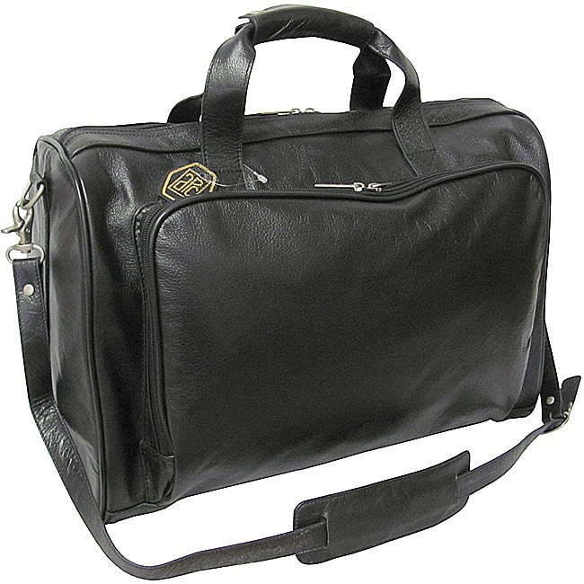 Amerileather Black 18 Inch Leather Carry On Weekend Duffel
