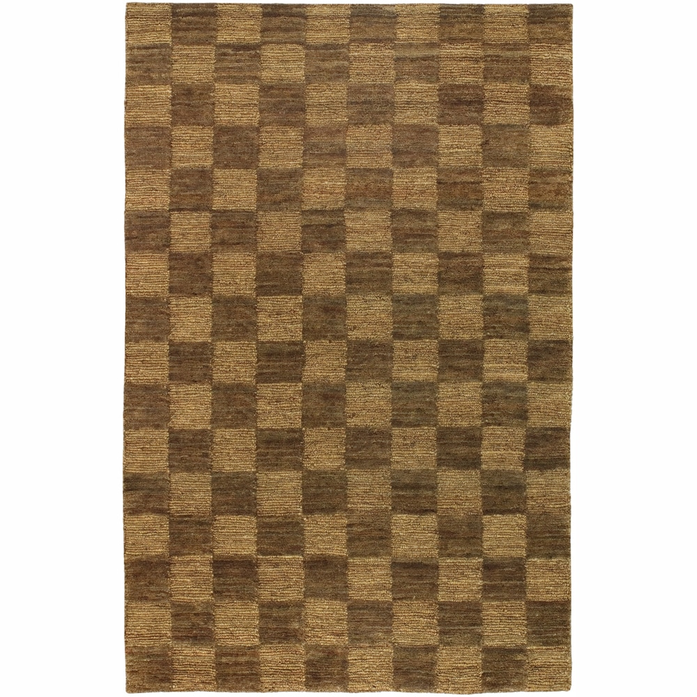 Checkerboard Area Rug: Hand-woven Mandara Brown Checkerboard Rug