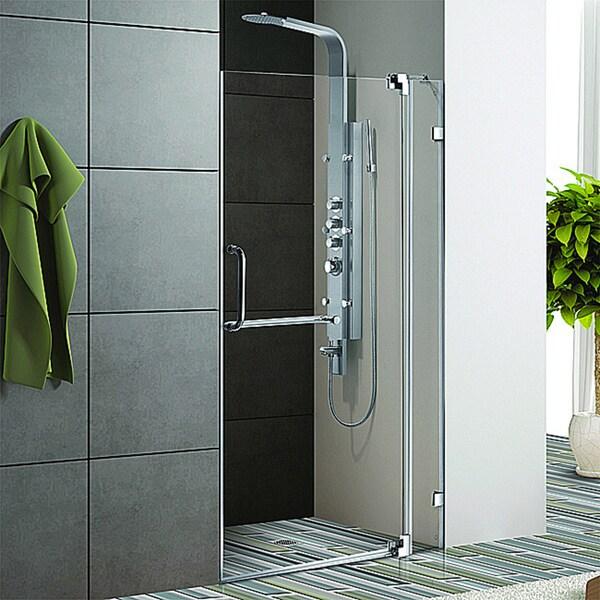 Vigo 42 Inch Clear Glass Frameless Shower Door With Chrome