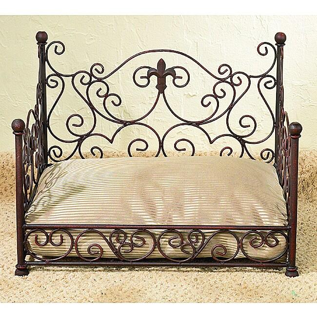 Antique Pet Bed: Antique Brown Fleur De Lis Iron Pet Bed