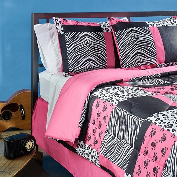 Full Size Comforter Set Girls Pink Zebra Bedding Teen