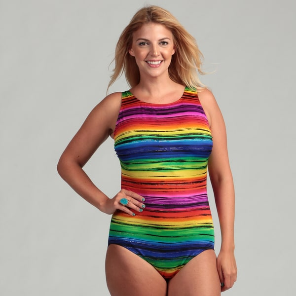 Longitude Women's Plus Size 1-piece Rainbow Stripe