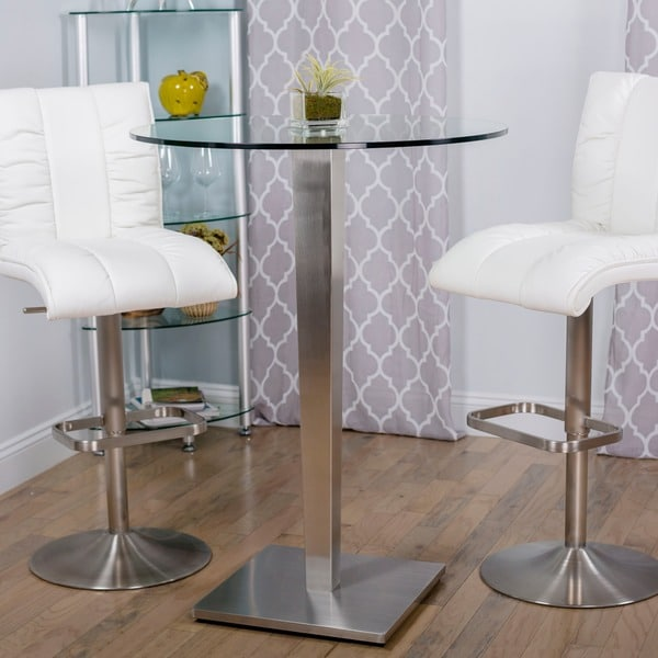 Ella Dining Room And Bar: Ella Round Glass Brushed Stainless Steel Pub Table