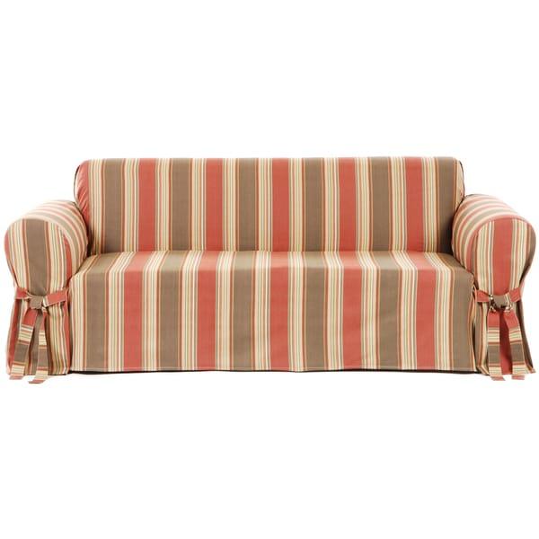 Classic Stripe Cotton Loveseat Slipcover 945393