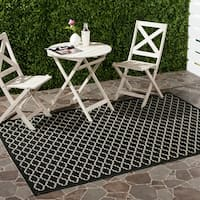 Safavieh Poolside Black/Beige Indoor/Outdoor Polypropylene Rug - 8' x 11'2'
