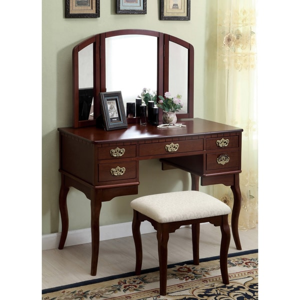 Furniture Of America Doris Solid Wood Vanity Table And