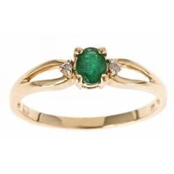 D Yach 10k Yellow Gold Zambian Emerald Ring 14179994