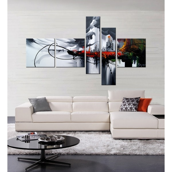 hand painted 39 angel city 39 5 piece gallery wrapped canvas art set 14176214. Black Bedroom Furniture Sets. Home Design Ideas