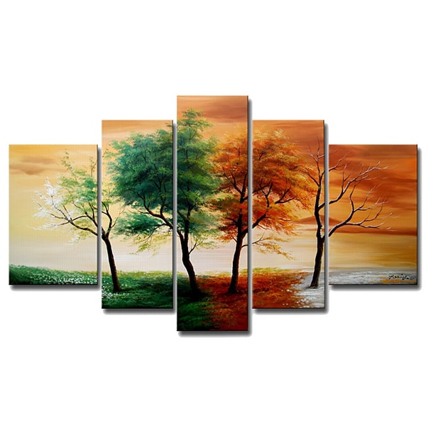 hand painted 39 four seasons 39 5 piece gallery wrapped canvas art set 14176216. Black Bedroom Furniture Sets. Home Design Ideas