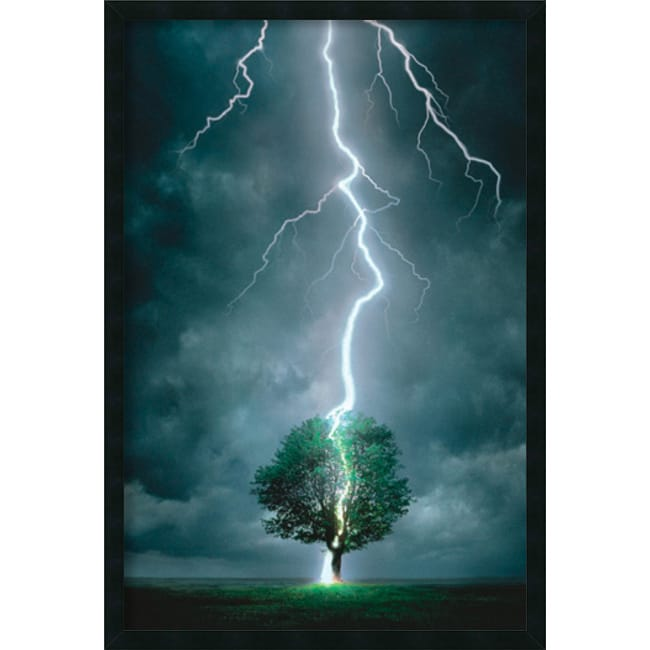 3 Piece Painting On Canvas Wall Art Nyc Street Lights New: Lightning Striking Tree' Framed Art Print With Gel Coated