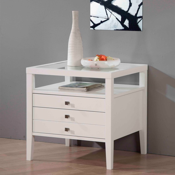 Abbey Coffee Table High Gloss White With 2 Pull Out Drawers: Aristo Gloss White End Table