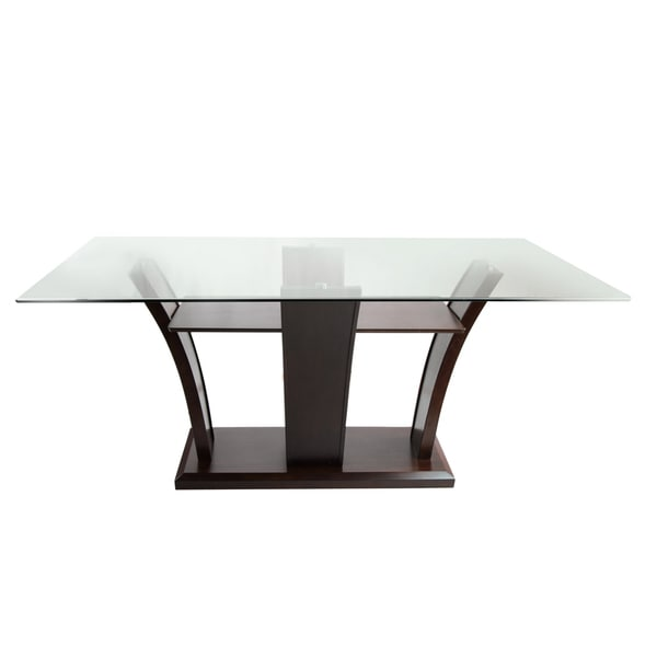 Aurelle Home Amanda Glass Top Rectangle Coffee Table: Furniture Of America Marion Rectangular Glass Top Dining