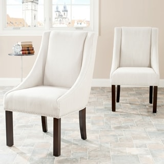 Magnificent Cheap Safavieh Sloping Arm Beige Linen Nailhead Dining Bralicious Painted Fabric Chair Ideas Braliciousco