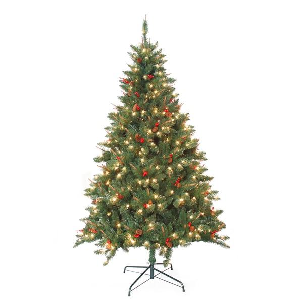 Berry Christmas Tree Lights: Pre-Lit Berrywood Pine 7-foot Artificial Christmas Tree