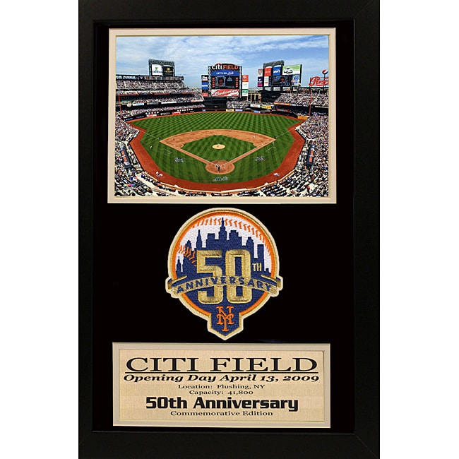 New York Mets 50th Anniversary Patch Frame Overstock