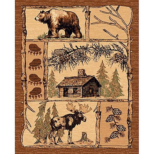 Lodge Design 362 Moose Bear Cabin Brown Area Rug 5 X 7