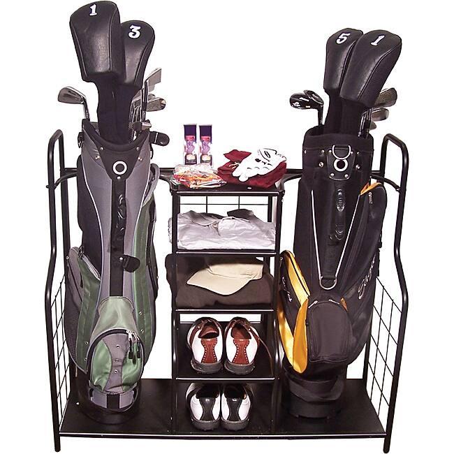 Ball Organizer Garage: Golf Clubs Bag Holder Shoes Ball Rack Storage Garage