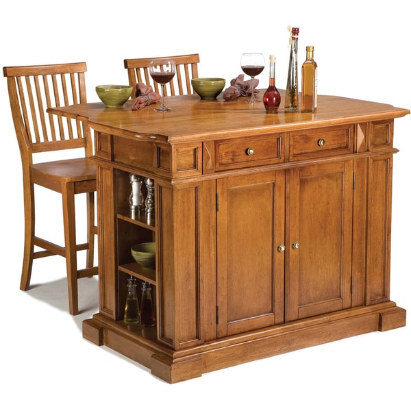 Kitchen Island Table With 4 Chairs: Home Styles Distressed Oak Kitchen Island And Stools