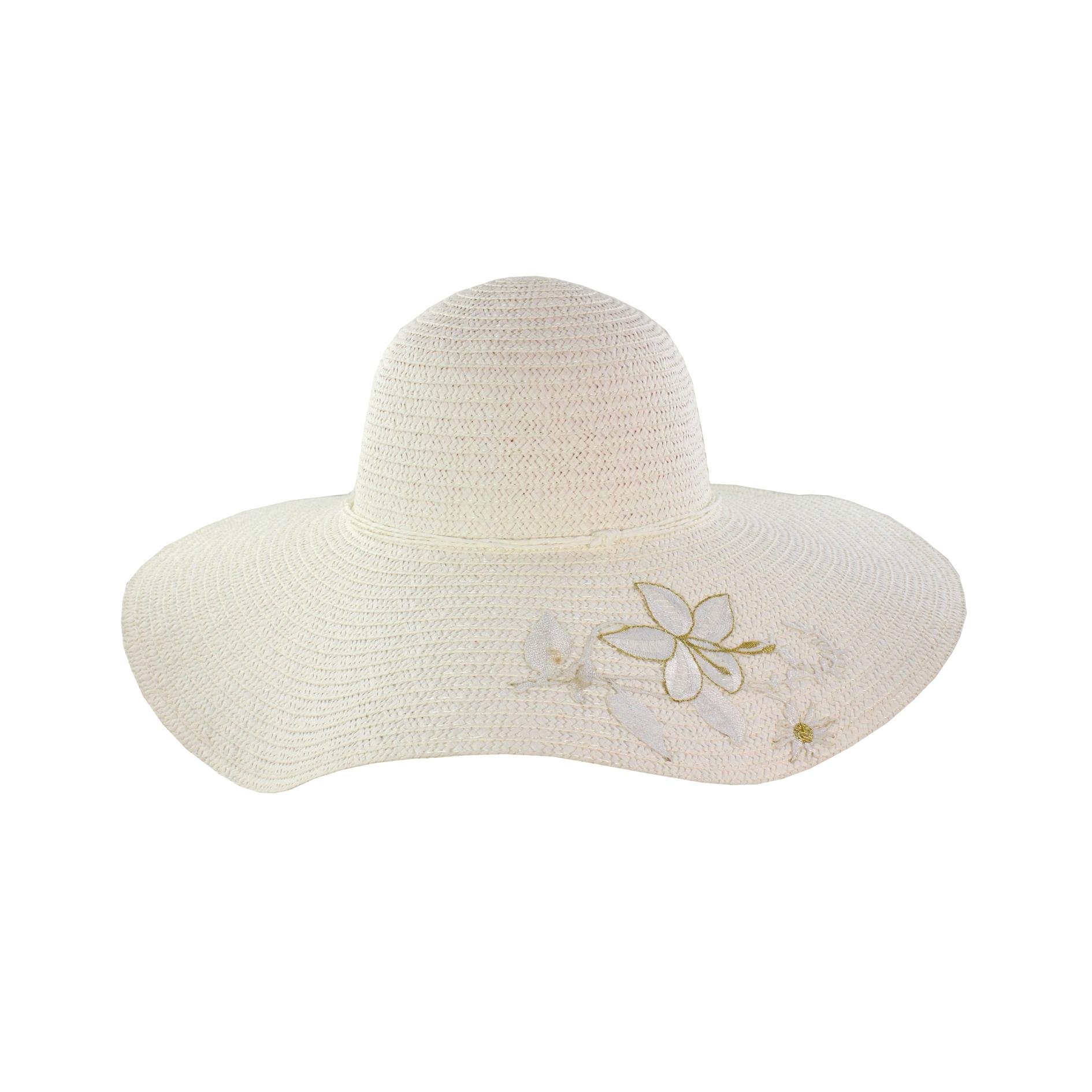 5a725e0b467 Faddism Womens White Flower Straw Sun Hat (StrawOne size fits most ...