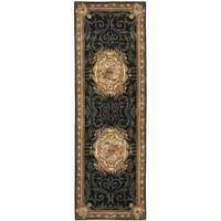 "Safavieh Handmade French Aubusson Black Premium Wool Rug - 2'6"" x 8'"