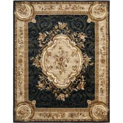 Safavieh Handmade French Aubusson Black Premium Wool Rug - 7'6 x 9'6 - Thumbnail 0