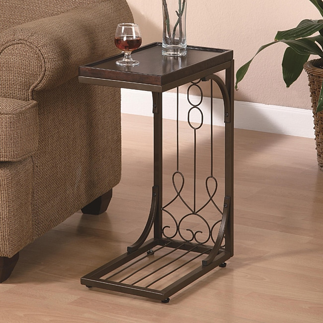 Brown Tray Top Snack End Table 14199681 Overstock Com