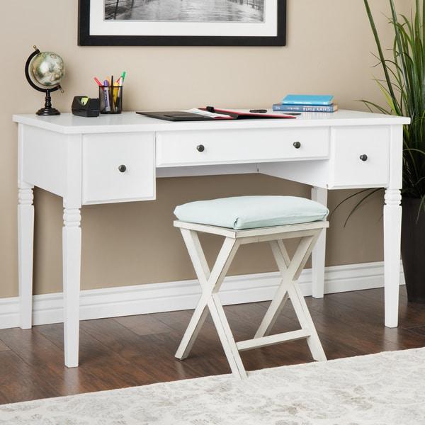 Cami White 3 Drawer Writing Desk 14204646 Overstock