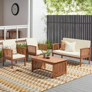 Carolina 4-piece Outdoor Acacia Sofa Set by Christopher Knight Home