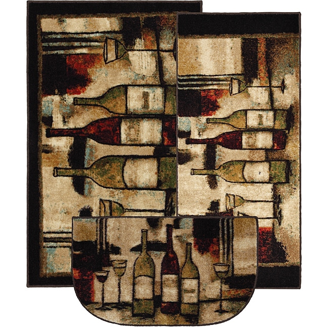 Mohawk Home Wine And Glasses Three Piece Kitchen Rug Set