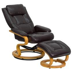 Contemporary Brown Leather Recliner And Ottoman 14206899