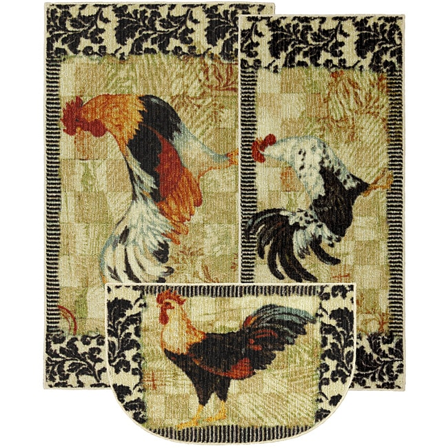 Rooster Rugs For The Kitchen: Bergerac Rooster Three-piece Kitchen Rug Set