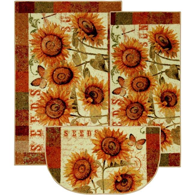 sunshine seeds three-piece kitchen rug set - 14207135