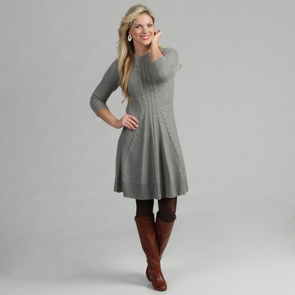 Jessica Howard Women S Cable Knit Detail Sweater Dress