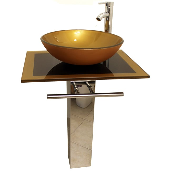 Mustard Gold 23 Inch Glass Vessel Bathroom Vanity 14211680 Overstock Com Shopping Great