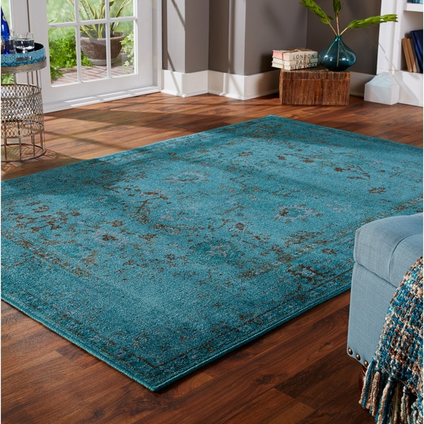 Over Dyed Distressed Traditional Teal Grey Area Rug 5 X