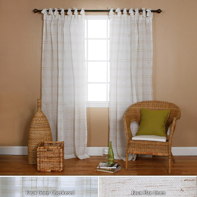 Faux Linen Tie-top 84-inch Curtain Panel Pair