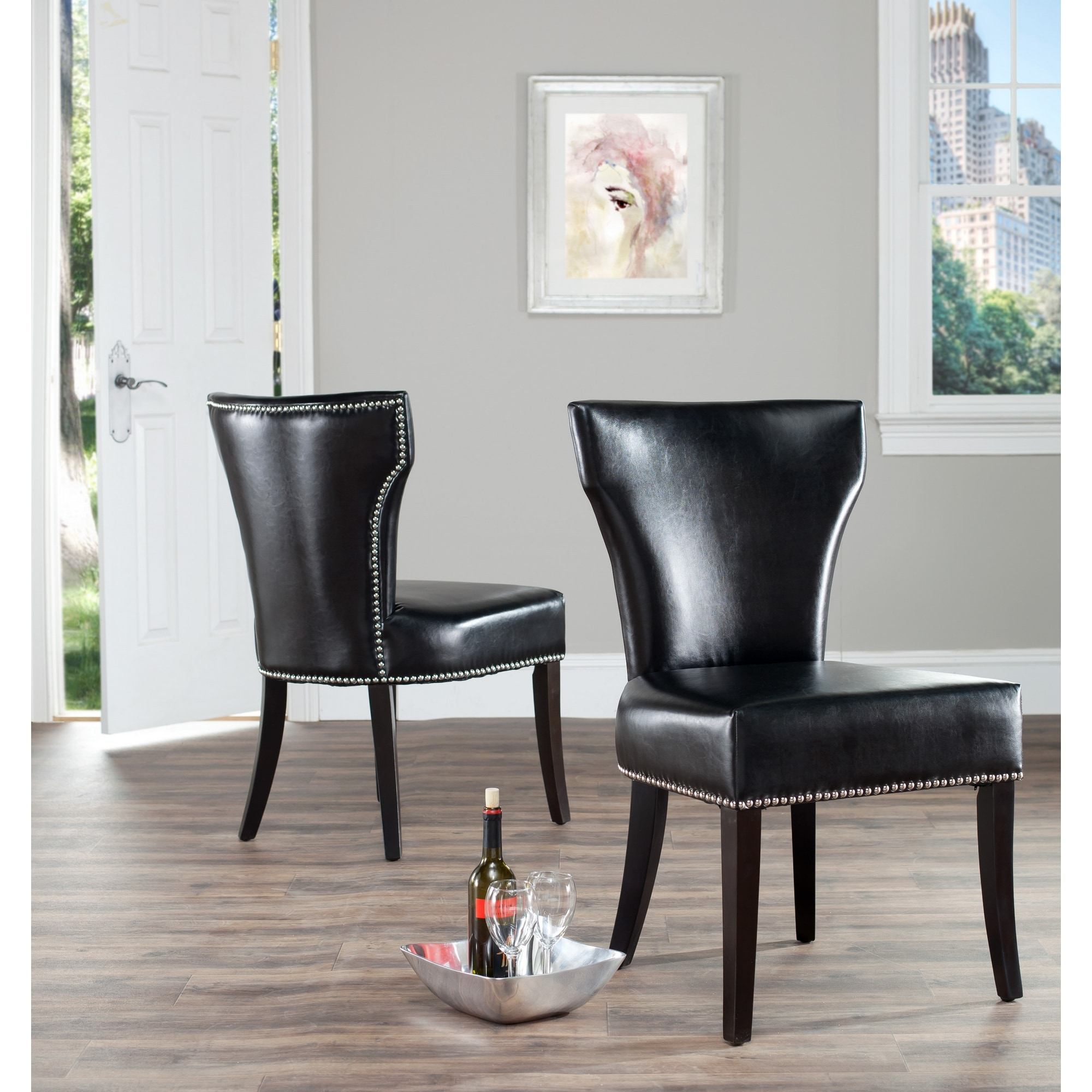 Black Dining Room Chair: Safavieh Matty Black Leather Nailhead Dining Chairs (Set