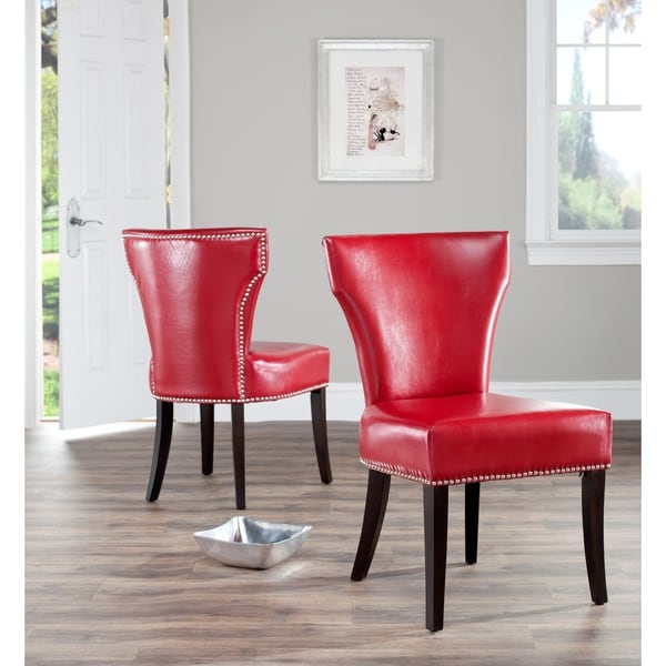 Red Dining Set: Safavieh En Vogue Dining Matty Red Leather Nailhead Side