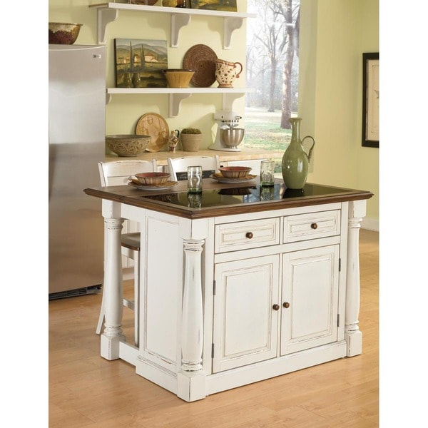 Home Styles Antiqued White Kitchen Island With Granite Top