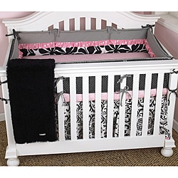 Geenny Black And White Flower Dots 13 Piece Crib Bedding