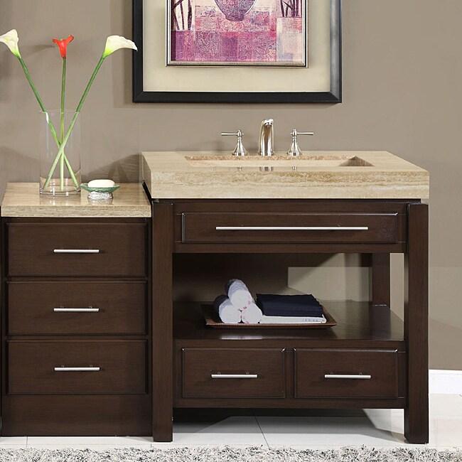 Silkroad exclusive 56 inch stone counter top bathroom - 60 inch bathroom cabinet single sink ...