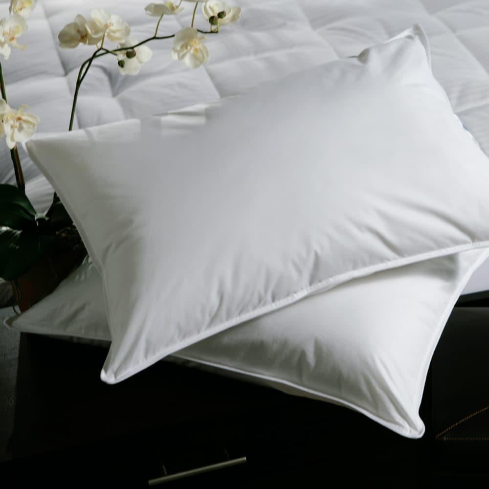 White Plush Top Medium Density Goose Feather Pillows Set