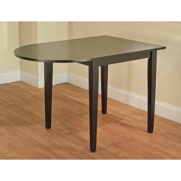 5pc Round Pedestal Drop Leaf Kitchen Table 4 Chairs: Simple Living Country Cottage Black Drop Leaf Dining Table