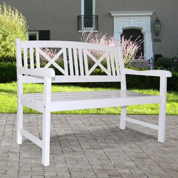 Bradley Outdoor White Wooden Bench